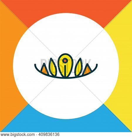 Diadem Icon Colored Line Symbol. Premium Quality Isolated Tiara Element In Trendy Style.