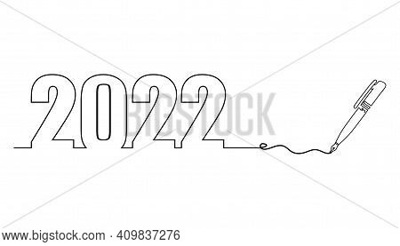 One Line Drawing Style With A Pen On The Right And 2022 On The Left. Concept About Writing, Simply,