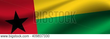 Banner With The Flag Of Guinea-bissau. Fabric Texture Of The Flag Of Guinea-bissau.