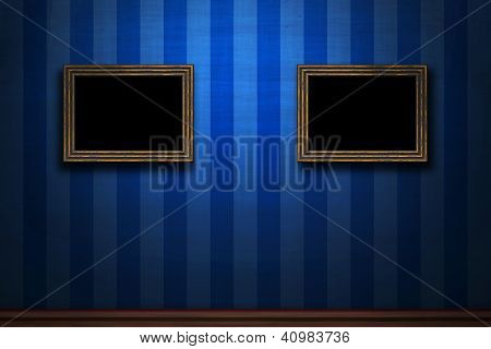 Old Wooden Frames On Blue Retro Grunge Wall