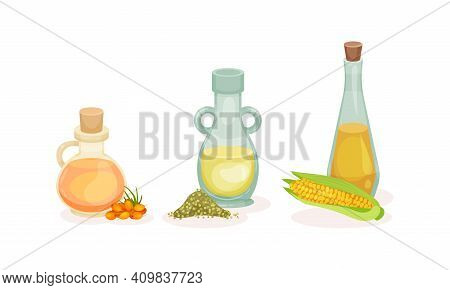 Organic Herbal Oil Poured In Glass Corked Jars Vector Set