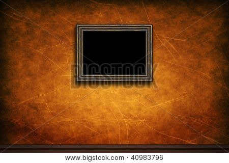 Old Wooden Frame On Brown Retro Grunge Wall