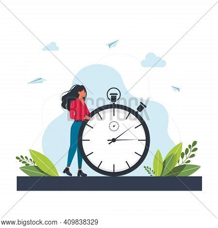 Hurrying Woman And Stopwatch. Concept Of Time Management, Effective Planning For Productive Work, St