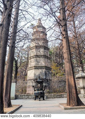 Stupa Courtyard With The Three Stupa's Set Up In The Qing Dynasty Next To The Huayan Temple In Yanku