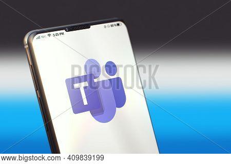 Kyiv, Ukraine-june, 2020: Microsoft Teams Mobile Application On The Smartphone Screen. Closeup Studi