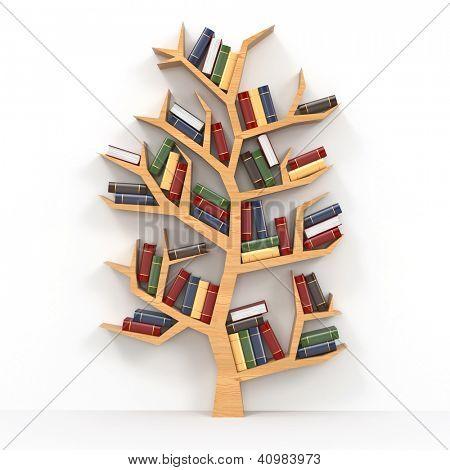 Baum der Erkenntnis. Bücherregal auf weißem Hintergrund. 3D