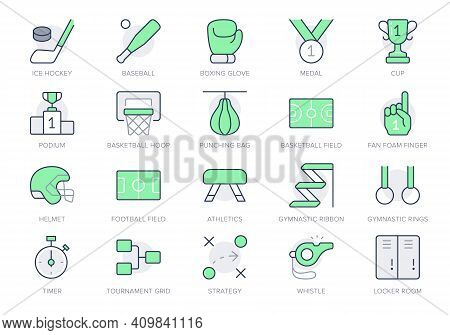 Sport Competition Simple Line Icons. Vector Illustration With Minimal Icon - Baseball And Football F