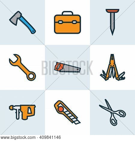 Handtools Icons Colored Line Set With Saw, Nail, Hatchet And Other Bolt Nut Elements. Isolated Illus