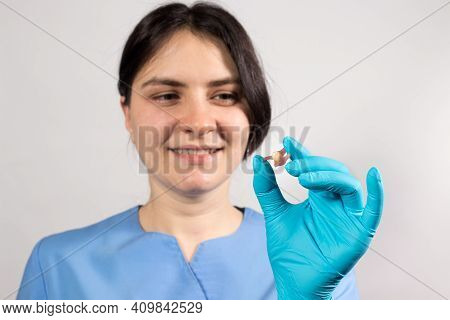 Dentist Holding Ceramic Artificial False Unit Tooth. Dental Prosthesis In Gloved Hands Of The Doctor