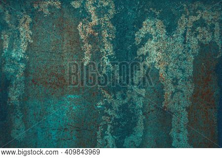 Luxurious Abstract Background Of Saturated Shades Of Sea Water, Emerald. Corroded Metal Background.