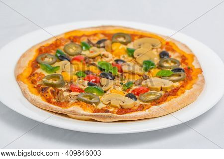 Pizza Concept. Tasty Pizza On Table. Lots Of Cheese Pizza. Mushroom Pizza. Pepperoni Pizza. Mozzarel
