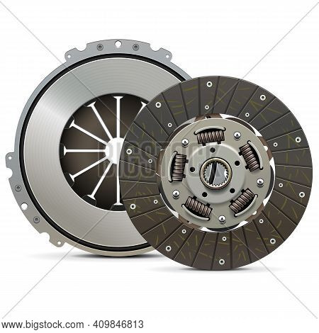 Vector Clutch Plate With Clutch Cover Isolated On White Background