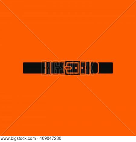 Trouser Belt Icon. Black On Orange Background. Vector Illustration.