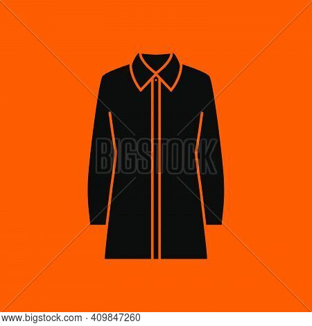Business Blouse Icon. Black On Orange Background. Vector Illustration.