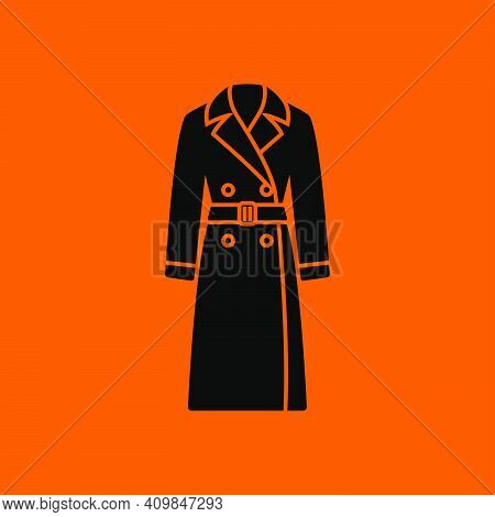 Business Woman Trench Icon. Black On Orange Background. Vector Illustration.