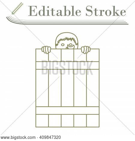 Criminal Peeping From Fence Icon. Editable Stroke Simple Design. Vector Illustration.