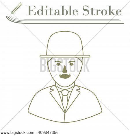 Detective Icon. Editable Stroke Simple Design. Vector Illustration.