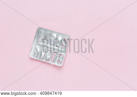 Blank Packaging From Pills On Pink Background. Shortage Of Medicines Concept. Completion Of Course O