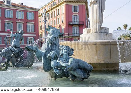 Nice, France - 18.02.2021: Fountain Of The Sun On Place Massena In Center Of Nice, France. The Squar