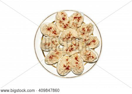 Boiled Eggs On A Plate Stuffed With Cod Liver.background Of Eggs Stuffed With Cod Liver, Top View.
