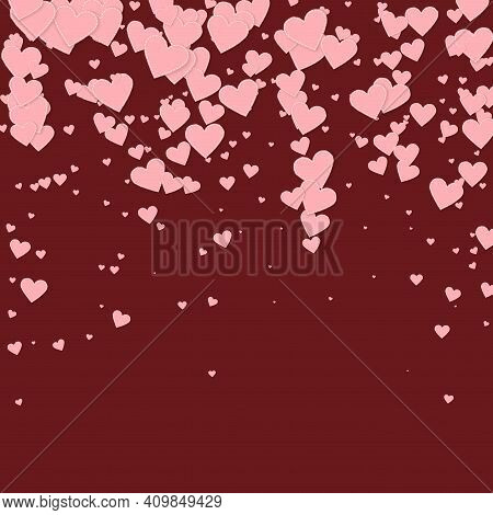Pink Heart Love Confettis. Valentine's Day Falling