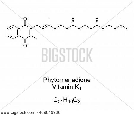 Phytomenadione, Vitamin K1, Phylloquinone, Chemical Formula And Skeletal Structure. Also Phytonadion