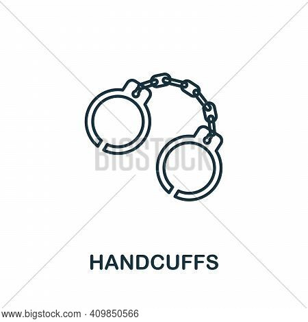 Handcuffs Icon. Simple Element From Police Collection. Creative Handcuffs Icon For Web Design, Templ