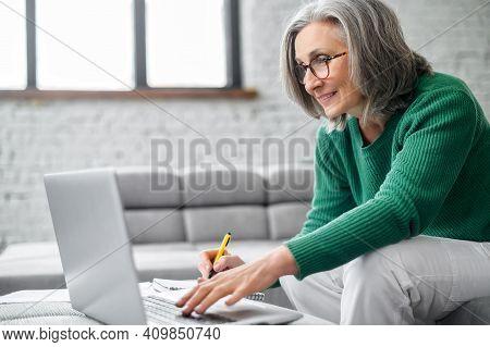 Charming Senior Online Teacher Conducts Webinar, Online Classes, Mature Modern Elderly Woman Sitting