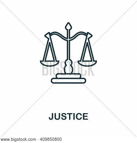 Justice Icon. Simple Element From Police Collection. Creative Justice Icon For Web Design, Templates