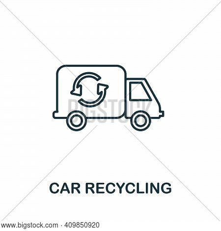 Car Recycling Icon. Simple Illustration From Recycling Collection. Creative Car Recycling Icon For W