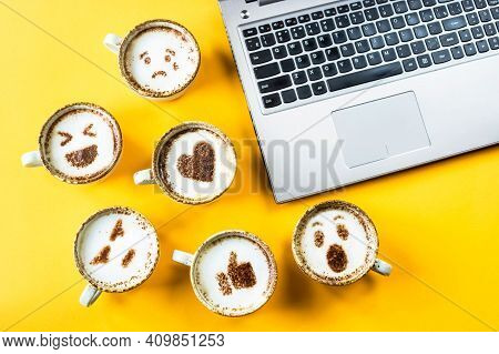 Coffee Cup On The Table, Hot And Fresh Morning Coffee. Brown Roasted Coffee. Coffee Concept. Copyspa