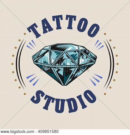 Colorful Badge With Shining Diamond Vector Illustration. Retro Tattoo With Bid Gem Or Jewel. Tattoo