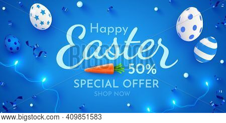 Easter Poster And Banner Template With Easter Eggs. Promotion And Trading Template For Easter.