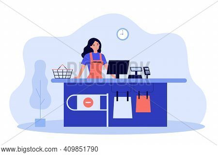 Supermarket Female Cashier Working At Checkout. Cash Register Worker Standing At Counter, Waiting Cu