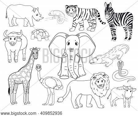 Set Of White Cartoon Isolated Outline Savannah Animals. Tiger Lion, Rhinoceros, Common Warthog, Afri