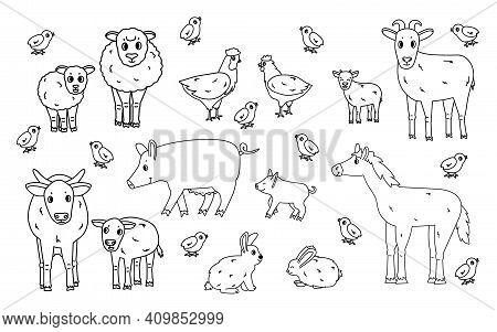 Set Of Cute Doodle Black Outline Vector Cartoon Animals At Farm. Sheep, Ram, Cow, Bull, Calf, Chicke