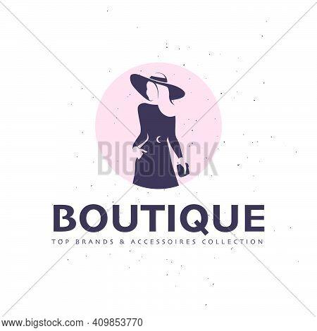 Lady Boutique Logo Design Template Isolated On White Textured Background. Stylish Long Haired Lady I