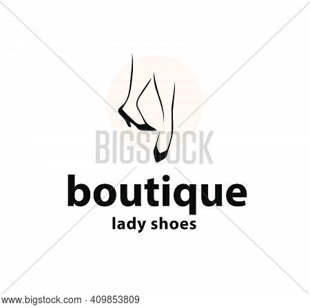 Lady Shoes Boutique Emblem Concept Isolated On White Background. Couple Of Elegant Woman Legs In Cla