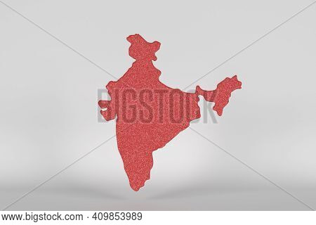 Red India View With White Background,3d Render
