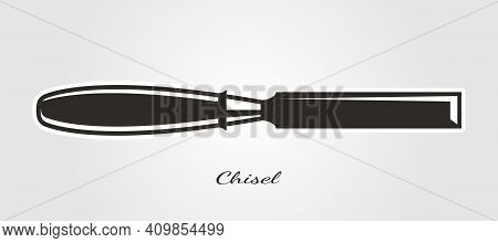 Isolated Chisel Vector Symbol For Carpentry Woodworker Illustration Design