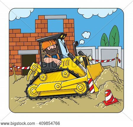 Bulldozer With Driver, Construction Worker. Vector Cartoon For Kids. Small Funny Vector Cute Car Wit