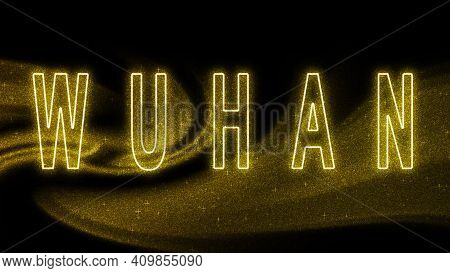 Wuhan Gold Glitter Lettering, Wuhan Tourism And Travel, Creative Typography Text Banner, On Black Ba