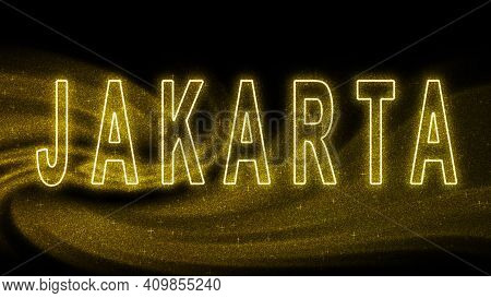 Jakarta Gold Glitter Lettering, Jakarta Tourism And Travel, Creative Typography Text Banner, On Blac