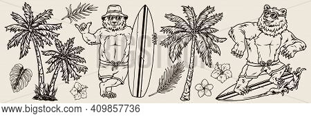 Vintage Monochrome Surfing Elements Concept With Bears Surfers In Sunglasses And Shorts Exotic Flowe