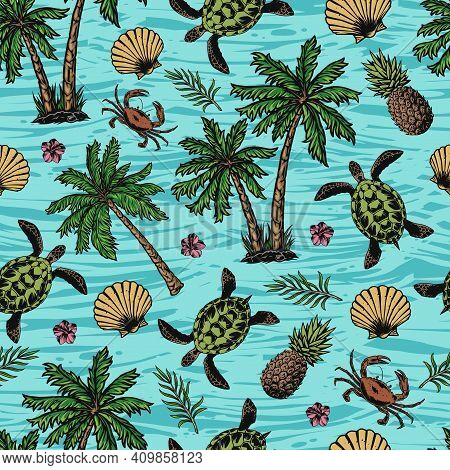 Vintage Tropical Colorful Seamless Pattern With Turtles Seashells Crabs Pineapples Exotic Flowers An