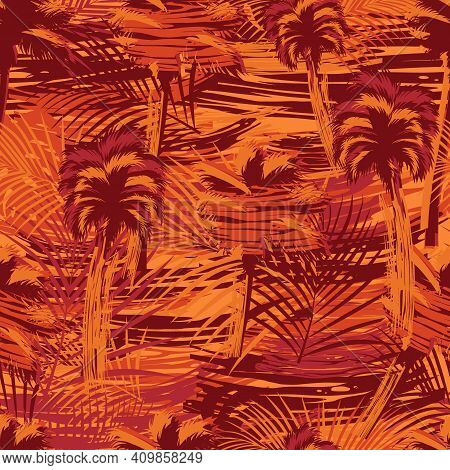 Tropical Natural Grungy Seamless Pattern With Palm Trees And Leaves In Orange Colors And Vintage Sty