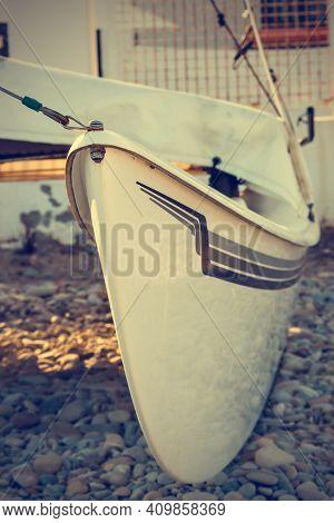 Detail Of A Catamaran On The Beach. Vertical Image.