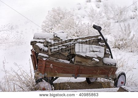 Wooden Wagon In The Snow