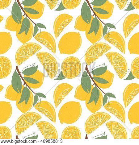 Fresh Textured Lemon Seamless Pattern Vector Hand Drawn Illustration. Lemon Slices, Half Slices Lemo
