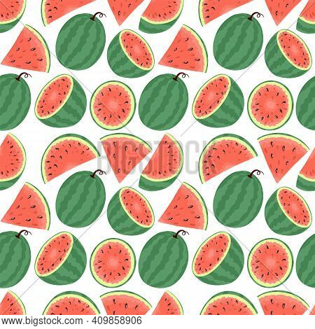Fresh And Ripe Watermelon Vector Hand Drawn Seamless Pattern. Watermelon Slices, Summer Food Illustr